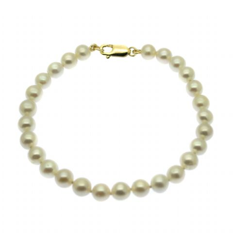 9ct Gold Pearl Bracelet White 6.5mm Round Freshwater Pearls